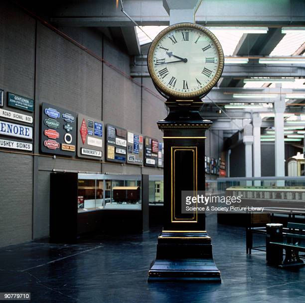 The clock stood in the gallery of the Great Hall of Euston Station until the demolition of the original station buildings in 1962 It is shown here on...