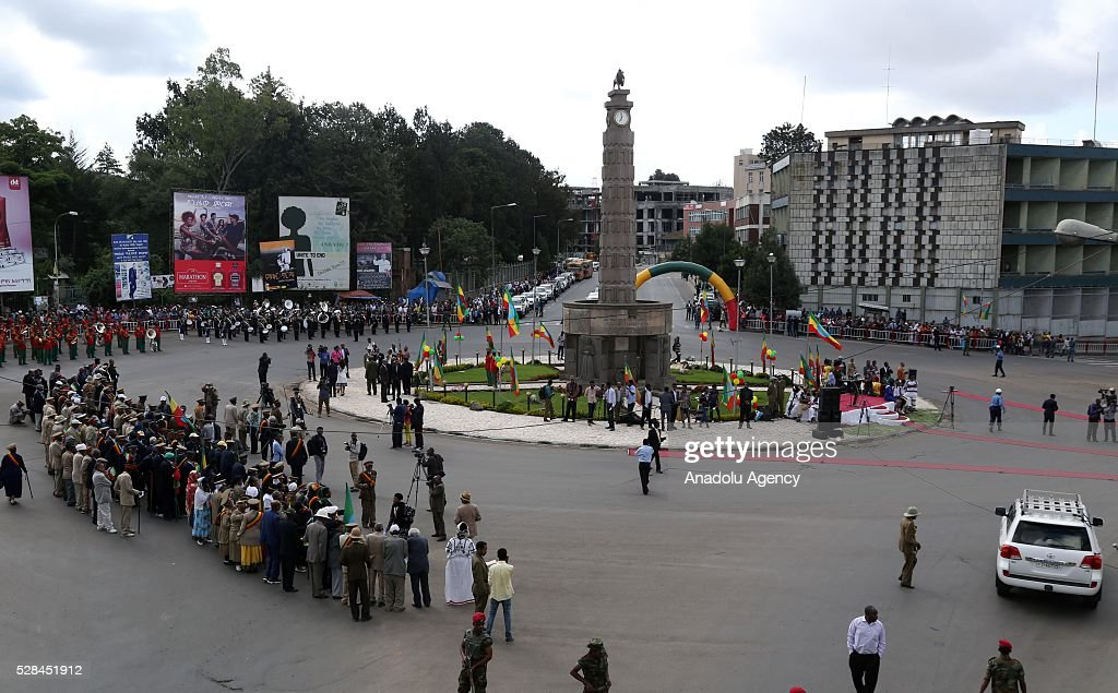 The clock tower at the Miazia 27 square shows the time when Ethiopian patriots arrived in the city in 1941 during a national holiday celebrating the liberation from Italian occupation in Addis Ababa, Ethiopia on May 5, 2016. Patriots Victory Day commemorates those who died during the occupation and honors veterans of the resistance movement.