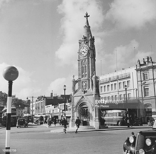 The clock tower in Torquay's main square by the harbour May 1950