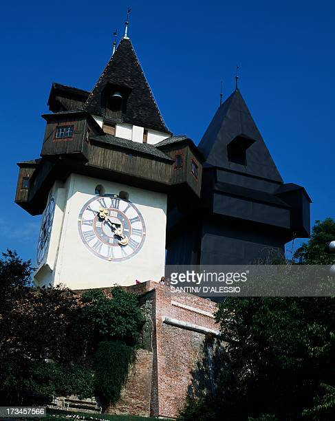 The Clock Tower next to the Shadow Clock Tower Graz Styria Austria