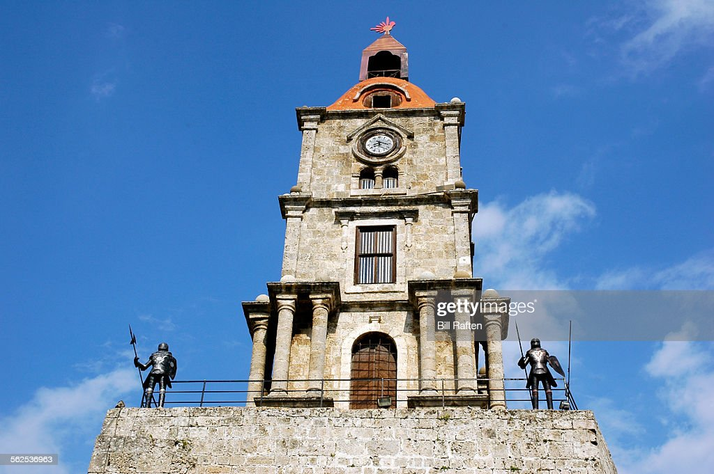 The Clock Tower Roloi Guarded By Knights Stock Photo ...