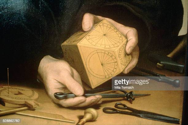 The clockmaker Nicolas Kratzer Detail of a painting by Hans Holbein dated 1528 at the Louvre Paris Color