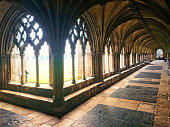 A series of photos capturing the sunlight in the cloisters of Norwich Anglican Cathedral.