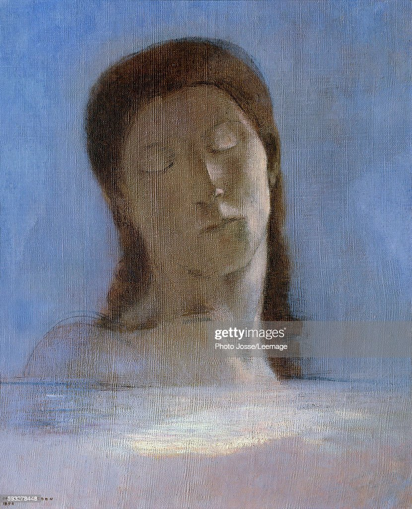 The Closed Eyes Painting by Odilon Redon oil on cardboard 1890 Musee d'Orsay Paris France