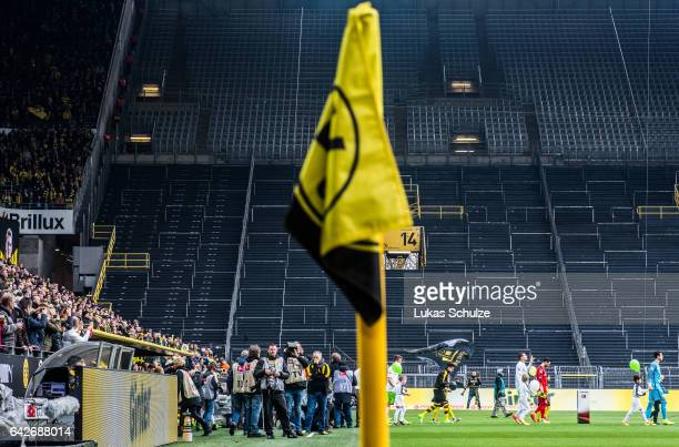The closed Suedtribuene is seen prior to the Bundesliga match between Borussia Dortmund and VfL Wolfsburg at Signal Iduna Park on February 18 2017 in...