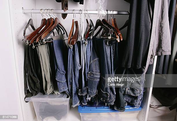 The closet of producer Amanda Demme is seen at her home on October 11 2004 in Los Angeles California