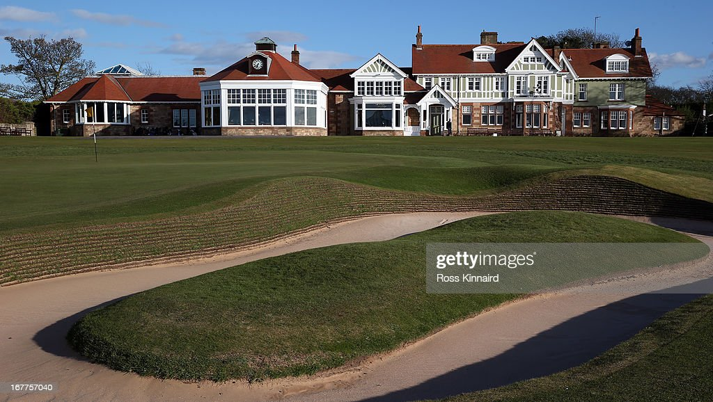 The Club House and the bunker next to the 18th green at Muirfield pictured during The Open Championship media day at Muirfield on April 29, 2013 in Gullane, Scotland.