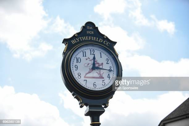 The clubhouse clock at Blythefield Country Club during the first round of the Meijer LPGA Classic on June 15 2017 at the Blythefield Country Club in...