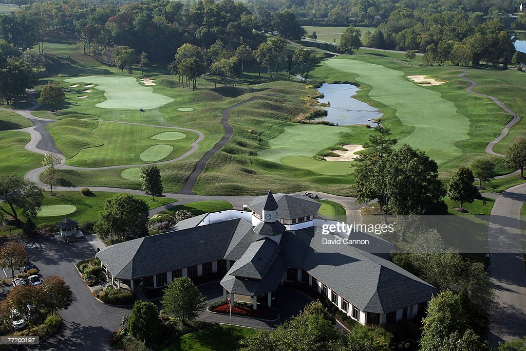 The clubhouse with the par 4 13th and the par 5 18th hole behind at Valhalla Golf Club venue for the 2008 Ryder Cup Matches on October 4 2007 in...