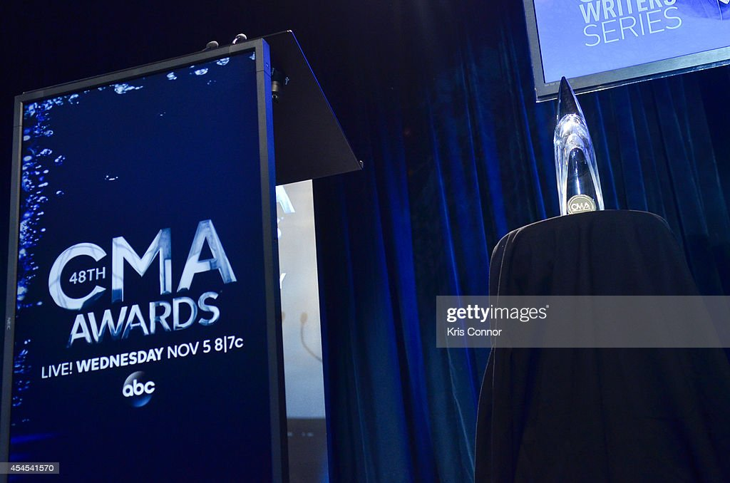 The CMA award during the 48th Annual CMA Awards Nominees Announcement at Best Buy Theater on September 3, 2014 in New York City.