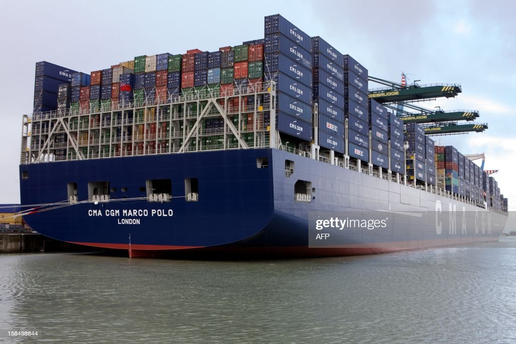 The CMA CGM company container ship Marco Polo is docked on December 17, 2012, in the Nothern Belgian port of Zeebrugge. The Marco Polo became on November 6, 2012 the largest containership in the world measured by capacity, as it can hold 16,020 TEU (twenty-foot equivalent unit containers).