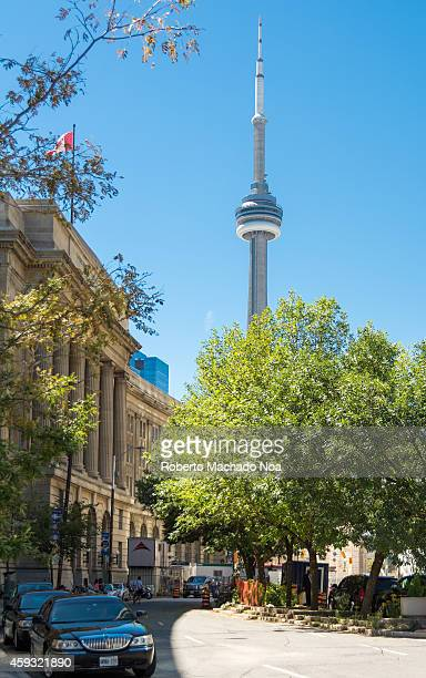 The CN Tower is a 55333 mhigh concrete communications and observation tower in Downtown Toronto Ontario Canada Built on the former Railway Lands it...