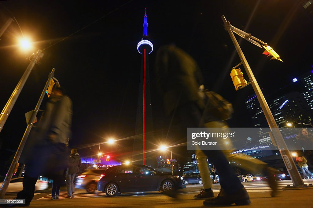 TORONTO ON NOVEMBER 13 The CN Tower lit up with the colours of the French Flag in support of France in the face of tragedy on November 13 2015