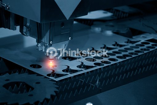 The CNC laser cut machine : Stock Photo