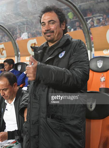 The coach Hugo Sanchez of Pachuca gives indications during a match between Pachuca and Leones Negros as part of the Cup MX 2012 at Hidalgo Stadium on...