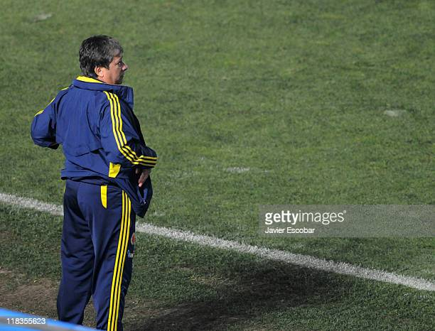 The coach of Colombia Hernán Darío Gómez during the mach between Argentina and Colombia as part of group A of Copa America 2011 at Brigadier Lopez...