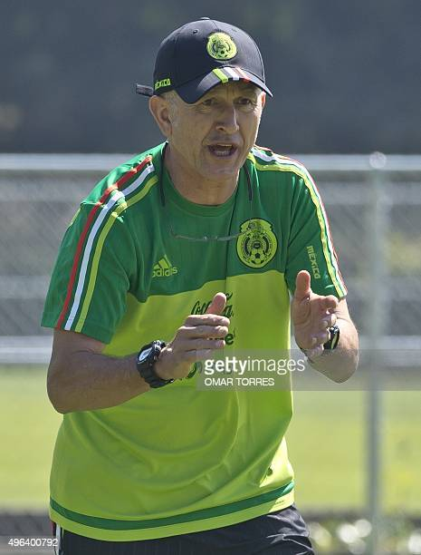 The coach of the Mexican national football team Colombian coach Juan Carlos Osorio during a training session on November 9 2015 in Mexico city Mexico...