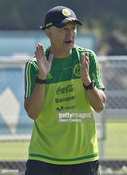 The coach of the Mexican national football team Colombian Juan Carlos Osorio during a training session on November 9 2015 in Mexico city Mexico will...
