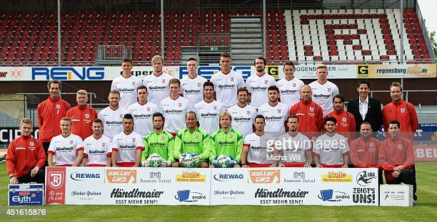 The coaches and players pose during the SSV Jahn Regensburg Team Presentation at Jahnstadion on June 29 2014 in Regensburg Germany