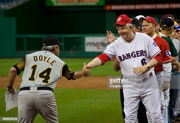 The coaches Mike Doyle DPA and Joe Barton RTexas shake hands before the 48th Annual Roll Call Congressional Baseball Game on June 17 2009 at...