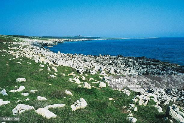 The coast south of Otranto Salento Peninsula Apulia Italy