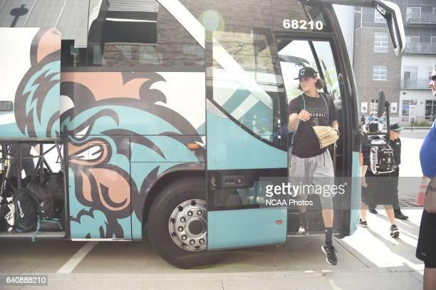 The Coastal Carolina University Chanticleers arrive to the stadium before the start of Game 3 against University of Arizona during the Division I...