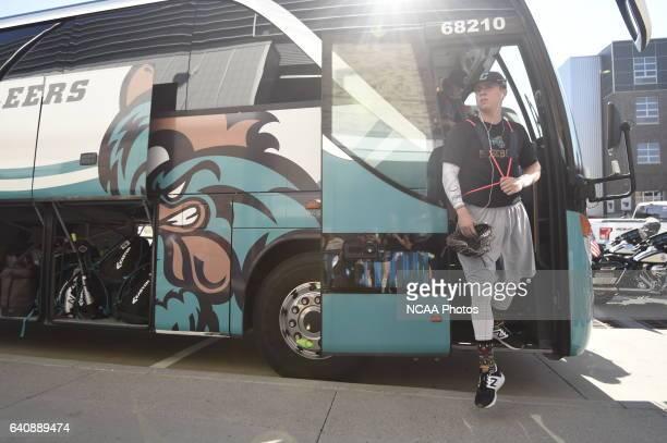 The Coastal Carolina University Chanticleers arrive to the stadium before the start of Game 2 against University of Arizona during the Division I...