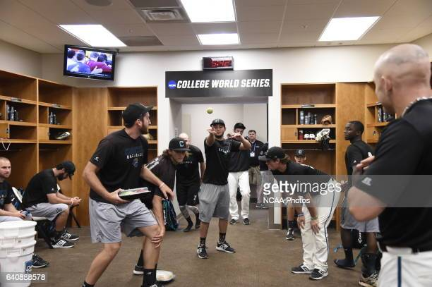 The Coastal Carolina University Chanticleers prepare in the clubhouse before the start of Game 3 against University of Arizona during the Division I...