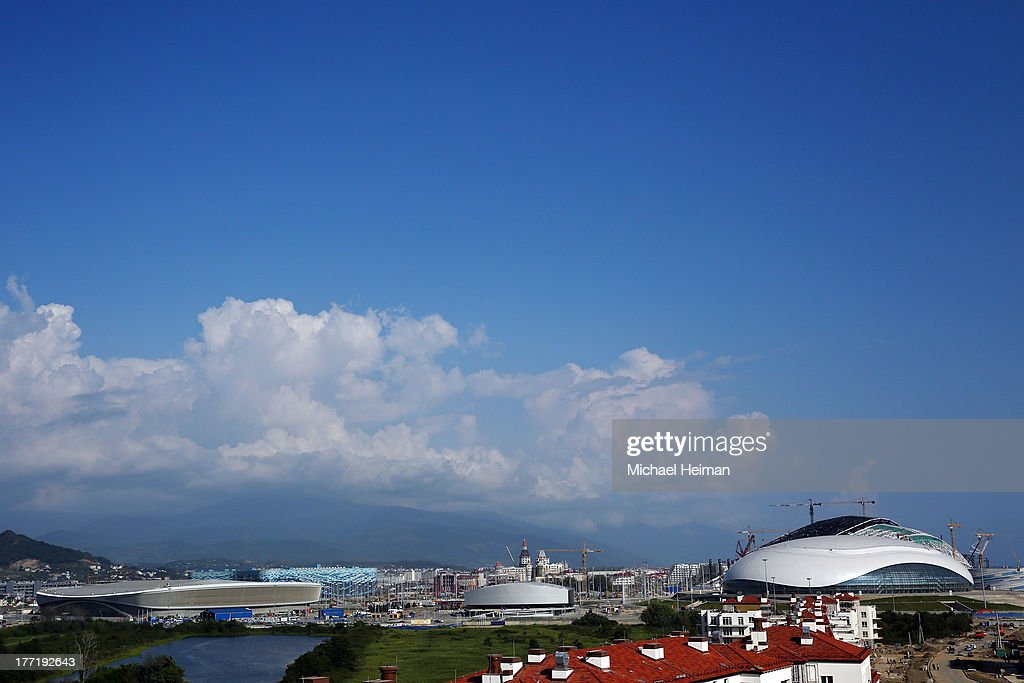 The coastal cluster of Olympic venues is seen on August 21, 2013 in Sochi, Russia.