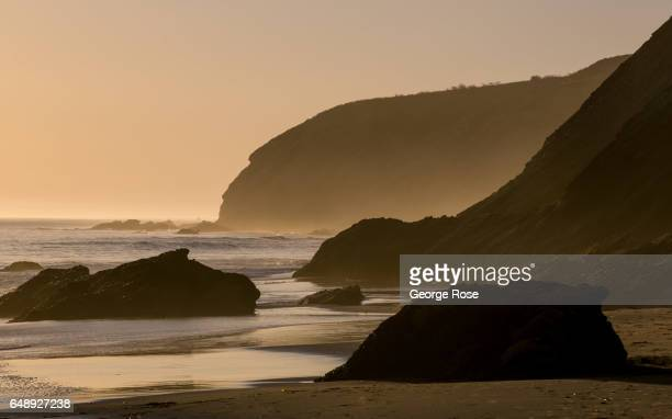 The coastline at Gaviota Beach is silhouetted against a setting sun on December 28 in Gaviota State Park California Because of its close proximity to...