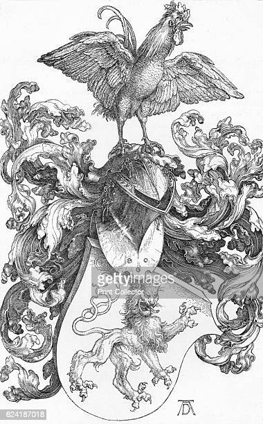The Coat of Arms with a Lion and a Cock' c15021503 The drawing is held by the National Gallery of Arts London From The Engravings of Albert Durer by...
