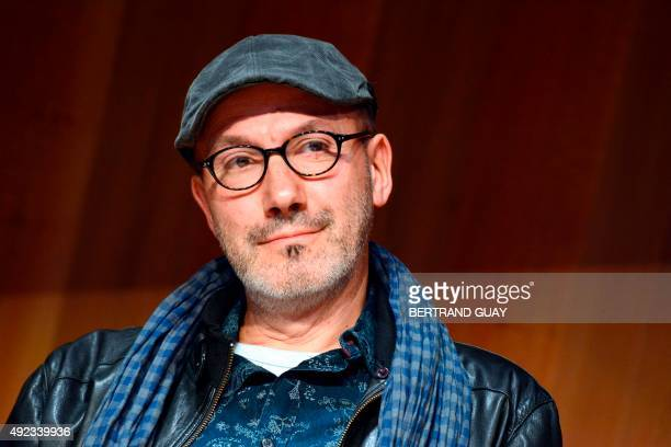 The coauthor of the popular comic book Asterix writer and cartoonist JeanYves Ferri takes part in a press conference in Paris on October 12 2015 for...