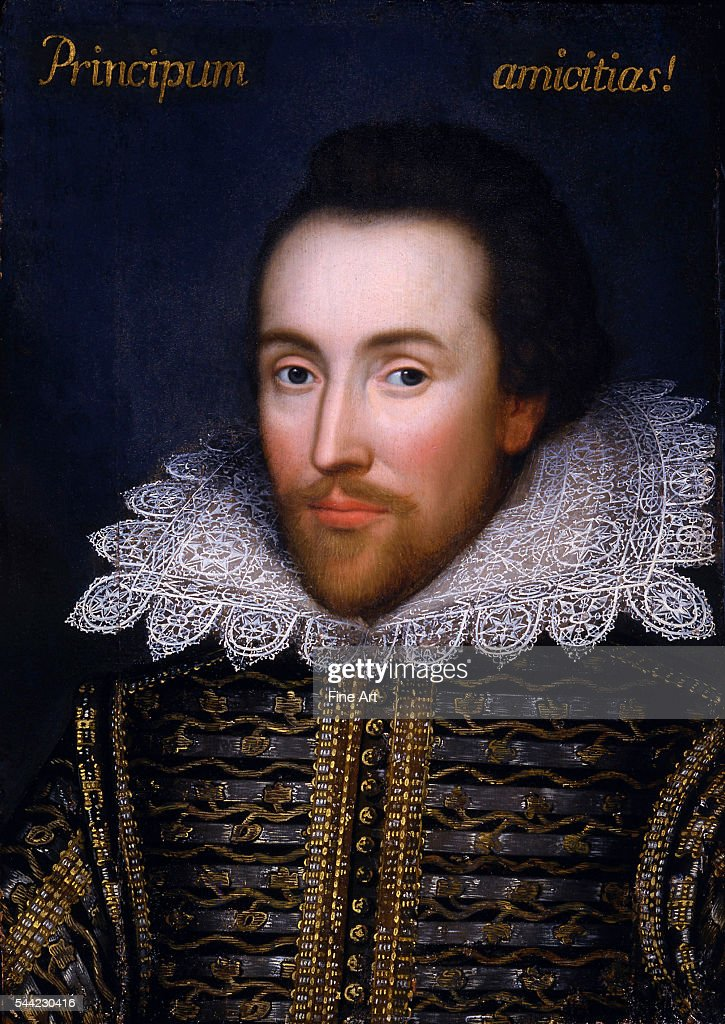 The 'Cobbe Portrait,' thought to be the only portrait of William Shakespeare painted during his lifetime, circa 1612, oil on panel, unknown artist. The Latin legend 'Principum amicitias!' included at the top of the portrait translates as 'The Friendships of Princes!' and is thought to be a quote from Horace's Odes, book 2, ode 1.