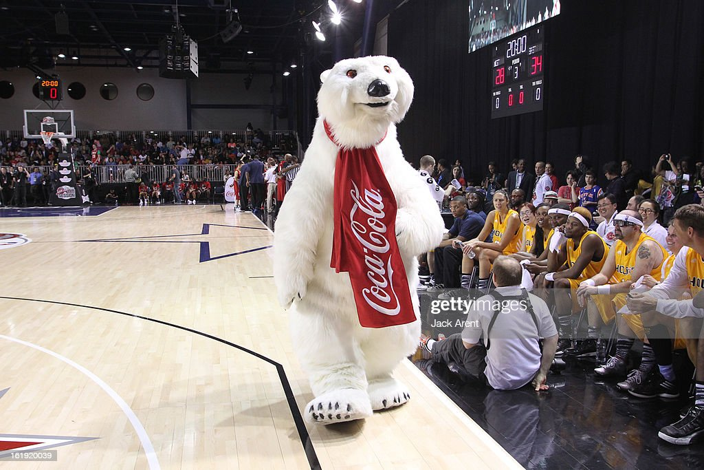 The Coca-Cola Polar Bear greets participants during the NBA Cares Special Olympics Unified Sports Basketball Game on Center Court at Jam Session during the NBA All-Star Weekend on February 17, 2013 at the George R. Brown Convention Center in Houston, Texas.