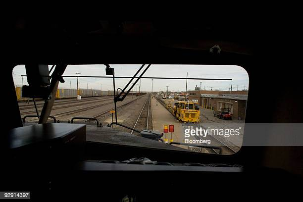 The cockpit of a BNSF Railway Company train loaded with coal stops for a crew change at a railway station in La Junta Colorado US on Friday Nov 6...