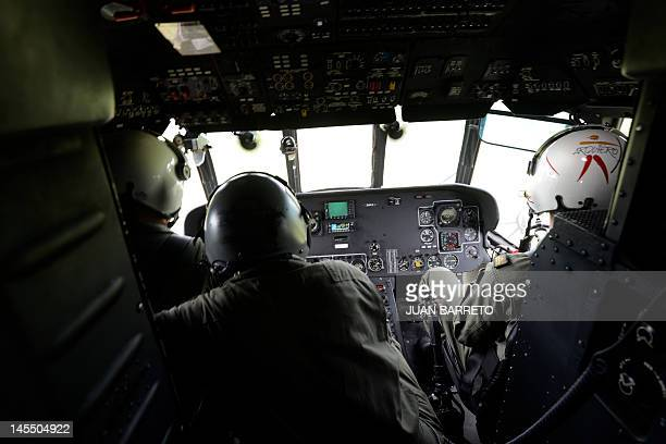 The cockpit of a military helicopter during an airborne operation to destroy clandestine airstrips used by drug traffickers in Apure 45km from the...