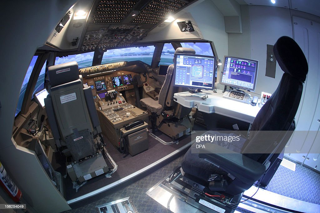 The cockpit of the new Boeing 747-8 flight simulator is pictured at the Lufthansa Flight Training Center in Frankfurt, western Germany, on November 12, 2012. Lufthansa presented the new simulator for pilots of the Boeing 747-8, Lufthansa's biggest plane.