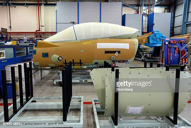 The cockpit section for a BAE Eurofighter Typhoon jet is seen in the final assembly hangar at the BAE Systems Plc plant in Warton UK on Thursday Feb...