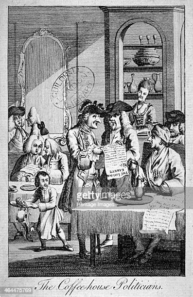 'The Coffeehouse Politicians' 1772 Interior view of a London coffeehouse Clients are absorbed in newspapers in particular the London Gazette and are...