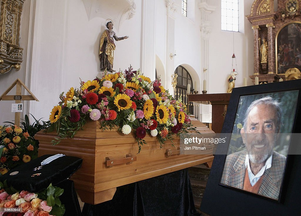 The coffin and a photo are displayed in the church before the funeral of German actor Hans Clarin on September 1, 2005 in Aschau, Germany. Clarin, the legendary voice of goblin 'Pumuckl' in the cartoon series 'Meister Eder und sein Pumuckl,' died of acute heart failure on August 28 at his house in Aschau. He was 75.