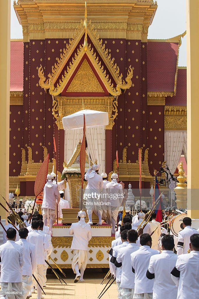 The coffin carrying the body of former King Norodom Sihanouk is lead into the crematorium after being paraded through the streets of Phnom Penh on February 1, 2013 in Phnom Penh, Cambodia. Over half a million mourners lined the streets to pay their respects during the funeral procession which finished at the crematorium where his funeral pyre will be lit by his wife and son on the 4th of February. King Norodom Sihanouk died of a heart attack last October in Beijing at the age of 89. For the past three months his body has been lying in state at the Royal Palace.