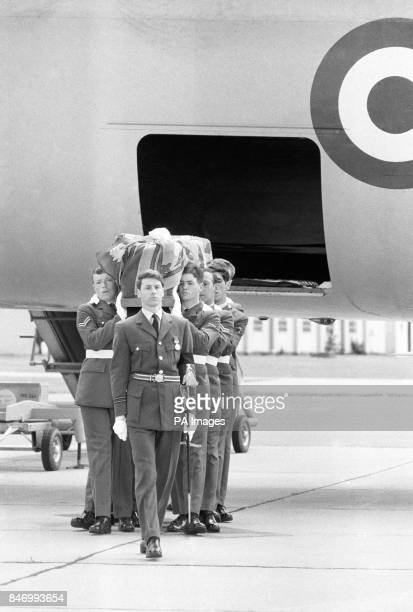 The coffin carrying the Duke of Windsor's body is seen draped with his personal standard as it is borne from the VC 10 It was taken to the Church of...