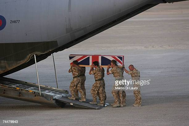 The coffin containing the body of British Army soldier L/cpl Paul 'Sandy' Sandford from the Worcestershire and Sherwood Foresters Regiment is carried...