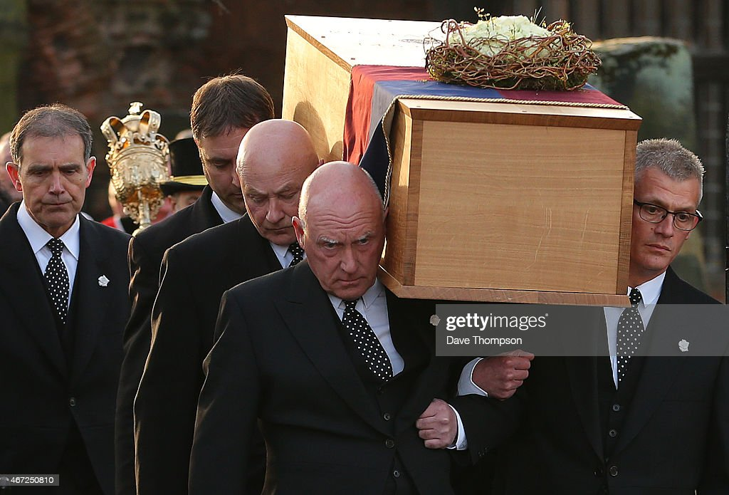 The coffin containing the remains of King Richard III is carried by pallbearers from St Nicholas Church during a procession through Leicester City centre ahead of a reinternment at Leicester Cathedral, on March 22, 2015 in Leicester, England. The skeleton of King Richard III was discovered in 2012 in the foundations of Greyfriars Church, Leicester, 500 years after he was killed in the Battle of Bosworth Field. Richard III's casket will lie inside Leicester Cathedral for public viewing for three days until 26 March when he will be reinterred during a service attended by members of the royal family.
