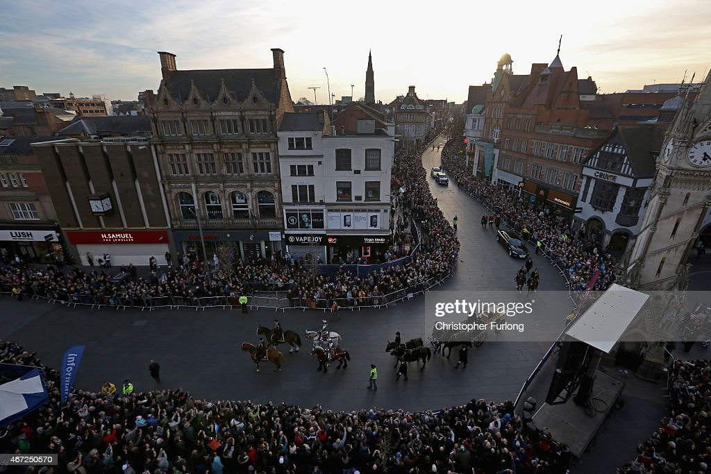 The coffin containing the remains of King Richard III is carried in procession for interment at Leicester Cathedral on March 22, 2015 in Leicester, England. The skeleton of King Richard III was discovered in 2012 in the foundations of Greyfriars Church, Leicester, 500 years after he was killed in the Battle of Bosworth Field. Richard III?s casket will lie inside Leicester Cathedral for public viewing for three days until 26 March when he will be re-interred during a service attended by members of the royal family.