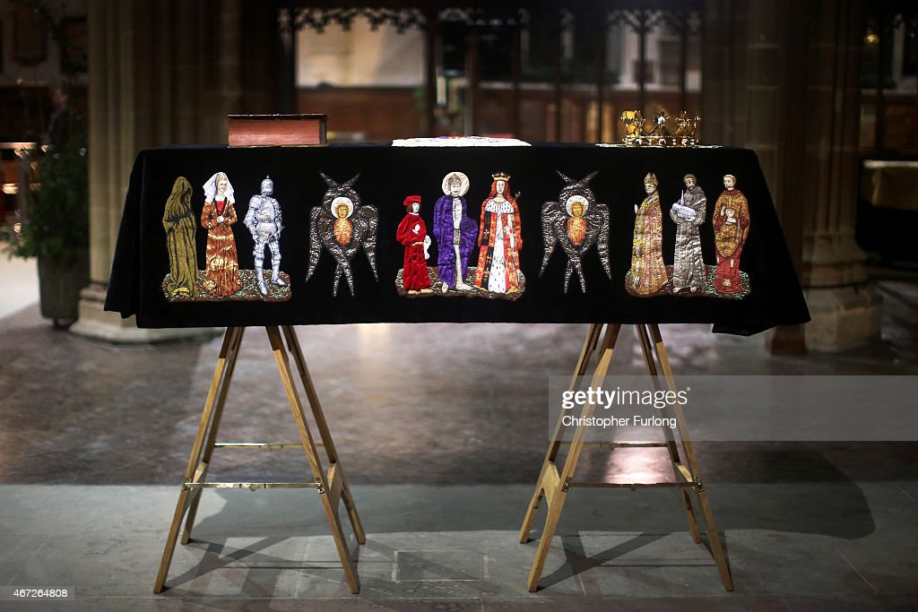 The coffin containing the remains of King Richard III is draped in a specially-embroidered 'pall' and adorned with a crown as it sits in repose inside Leicester Cathedral on March 22, 2015 in Leicester, England. The skeleton of King Richard III was discovered in 2012 in the foundations of Greyfriars Church, Leicester, 500 years after he was killed in the Battle of Bosworth Field. Richard III?s casket will lie inside Leicester Cathedral for public viewing for three days until 26 March when he will be re-interred during a service attended by members of the royal family.