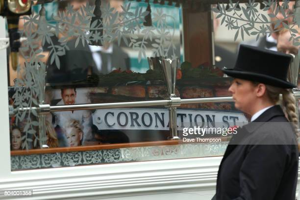 The coffin Martyn Hett leaves Stockport Town Hall after his funeral on June 30 2017 in Stockport England 29 year old Martyn Hett was one of 22 people...