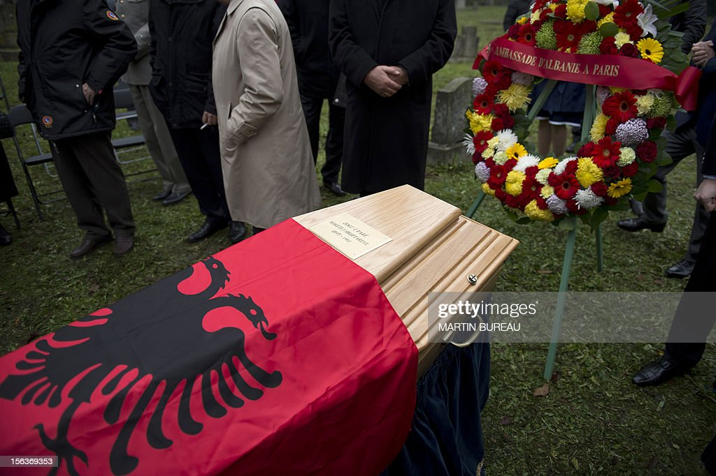 The coffin of Albanian King Zog I is pictured after being exhumed at the cemetery of Thiais, on November 14, 2012. Albania will repatriate today the remains of its former self-proclaimed king Zog I from France, where he died in exile in 1961. An official burial will be held November 17 in the capital Tirana at a cemetery where other members of the royal family are already interred. BUREAU