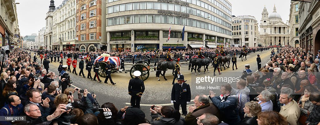 The coffin of Baroness Thatcher is bought up Ludgate Hill during the Ceremonial funeral of former British Prime Minister Baroness Margaret Thatcher at St Paul's Cathedral on April 17, 2013 in London, England. Dignitaries from around the world today join Queen Elizabeth II and Prince Philip, Duke of Edinburgh as the United Kingdom pays tribute to former Prime Minister Baroness Thatcher during a Ceremonial funeral with military honours at St Paul's Cathedral. Lady Margaret Thatcher, who died last week, was the first British female Prime Minister and served from 1979 to 1990.