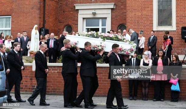 The coffin of Beth Jones who died in a crash on the M62 as she headed to a hen party is carried into St Joseph's church in South Elmsall